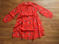 NWT Old Navy Women's Coral Red Print Henley Tunic Shirt Floral S MED LG XL (ON4)