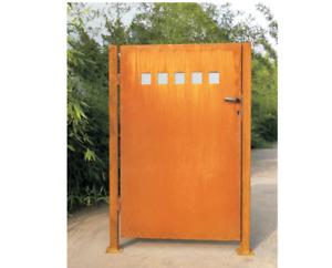 Gartentür Edelrost Gartentor inkl. Pfosten Metall Rost mit Glasdeko Türschloss