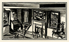 FISKE BOYD, 'INTERIOR', signed modernist woodcut, 1936. AAG.
