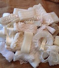 SATIN RIBBON & LACE BUNDLE / 10 metres WEDDING/BABY/VINTAGE/RUSTIC/WHITE/IVORY