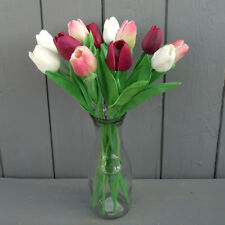 Real Touch Artificial Tulips with Vase - Many Colours