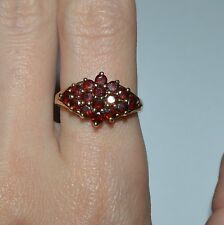 GOLDEN TONE STERLING SILVER AND GARNET CLUSTER RING SIZE 8