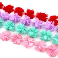 10 Peonies -Chiffon flower trim pink/aqua/purple/red for millinery, hair, crafts