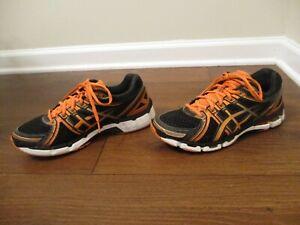 Used Worn Size 9 Asics Gel Kayano 19 Shoes Black Orange White