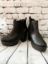 Ladies Black Chunky Ankle Chelsea Boots Size 7 /40