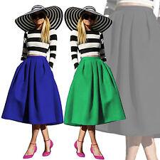 Ladies Vintage Stretch High Waist Skater Full Flared Pleated Midi Circle Skirt