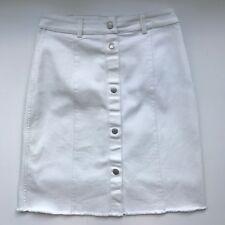 Denham Womens Full Botton Front White Denim Pencil Skirt, AU Size 10