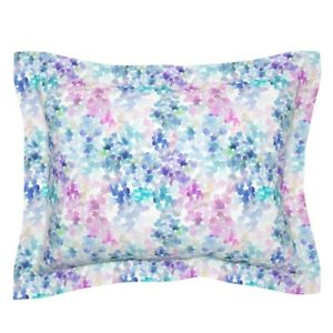 Purple And Blue Watercolor Abstract Blobs Tender Pillow Sham by Roostery