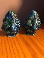 Vintage Inarco Japan Blue Mood Indigo Fruit Vase Ceramic Salt & Pepper Shakers