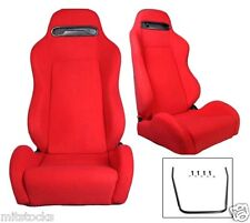 2 RED CLOTH RACING SEATS RECLINABLE + SLIDERS FIT FOR VOLKSWAGEN NEW *