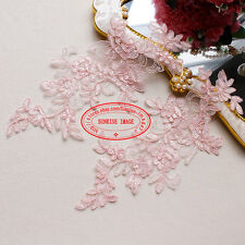2PC, Flower Motif Fabric Embroidered Lace Trim Sewing Applique Dress Decor FL177