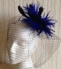 blue feather fascinator black french veiling veil hair clip brooch headpiece