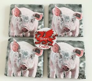 Set 4 Pigs Slate Coasters, home decor, country, hand decorated, gift, grey, pink