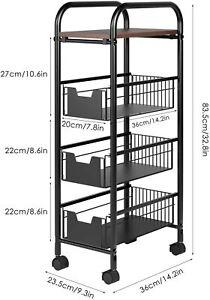 4 Etagen Rollwagen Küchentrolley Badregal Küchenwagen Servierwagen mit 3 Basket