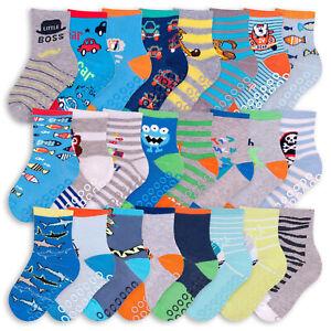 Boys Cotton Rich Rubber Gripper Novelty Design Socks Dino Shark Monster UK 3-11