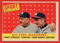 1958 Topps #475 Casey Stengel EX/EX+ MARKED New York Yankees HOF FREE SHIPPING