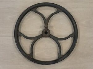 "ANTIQUE CAST IRON TREADLE BASE PULLEY FLY WHEEL 12 1/2"" diameter (10070)"