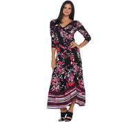 Du Jour Regular Floral Printed Faux Wrap Knit Maxi Dress, Black, L