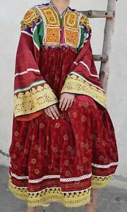 "Vintage Kuchi Dress Afghan Nomad Boho Tribal Ethnic Banjara dress BUST 38"" K 30"