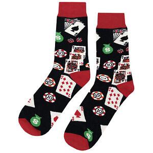 NWT Casino Fun Dress Socks Novelty Men 8-12 Red and Black Fun Sockfly