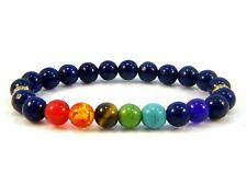 Chakra Beaded Bracelets Healing Gemstones Lapis Lazuli Beads Yoga Bangle Charms