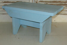 "Handmade Primitive wooden bench stool beach house coastal cottage light blue 16"""