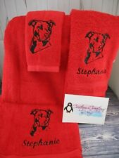 Pitbull Sketch Personalized 3 Piece Bath Towel Set Any Color Choice Dog Gift