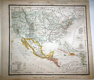 USA, MEXIKO,TEXAS, KALIFORNIA, engraved  map by G.Westermann, 1860`s