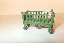 1930's Kilgore Cast Iron Baby Crib Bed, Green, Original