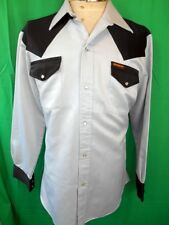 Vintage 70s Black & Grey Polyester New Breed Western Cowboy Shirt Snap Buttons M