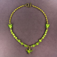 GREEN PARAKEET LOVE NECKLACE Budgie Parrot Bird Totem Hearts Flowers Gold Magick
