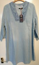 Monsoon Blue 73 Shola Denim Tunic Blue Uk 18 Bnwt Embroidered Yoke