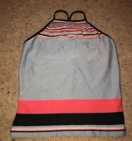 J.Crew Gym Black Gray Pink  Striped Stretch Tank Shirt Bra  Women's Medium Poly