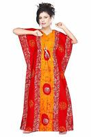 Women Boho Plus Size 100% Cotton Batik Print Kaftan Nighty Kimono Sleeve