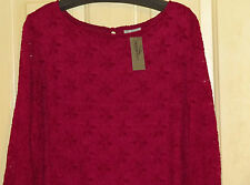 WOMENS CATHERINES TOP LACY 2X NWT BERRY PINK LINED LACEY LACE