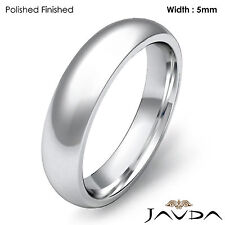 Men Wedding Band 18k Gold White Classic Dome Comfort Fit High Polish Ring 5mm 9g