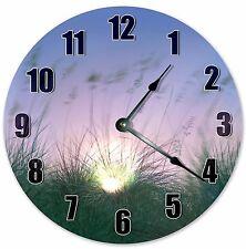 """10.5"""" SUNSET PEEKING ON GRASS CLOCK - Large 10.5"""" Wall Clock - Home Décor - 3079"""