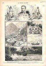 Tierra del Fuego Terre de Feu Exploration Giacomo Bove Esploratore GRAVURE 1883