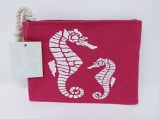 JHind Design Canvas Seahorse Zippered Pouch Bag - New