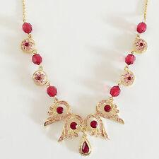 New Luxury Pink Red Flower Angel Wing Tear Drop Lucky in Love Necklace NE1334A