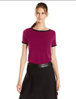 Anne Klein Medium M Fuchsia Purple Black Stretch Knit Jersey Button Back Top