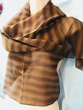 Ginger And Brown Stripe Sheer Scarf