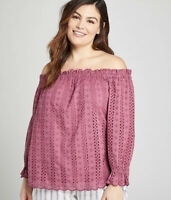 New Lane Bryant Womans Eyelet Off Shoulder Top Sz 14/16 Blouse Lined Cotton NWT