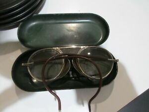 VTG BAUSCH AND LOMB SAFETY GLASSES GOGGLES SIDE SCREENS STEAM PUNK WITH CASE