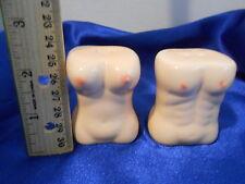 Nude Naked MAN & Women's Body Torrso Salt & Pepper Shakers Ceramic ATLANTIC CITY