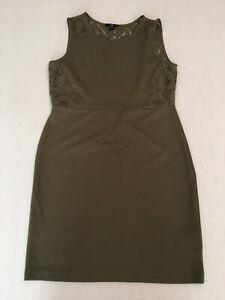 H&M Women's Dress Smart Khaki Sleeveless Spring Summer Office Wear Size UK M