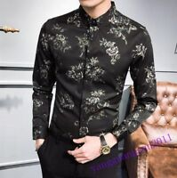 Hot Sale Mens Shirt Stand Collar New Floral Pattern Slim Fit Dress Party Fashion