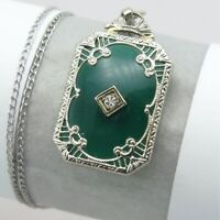 Vtg Art Deco 10k White Gold Filigree Chrysoprase White Sapphire Pendant Necklace