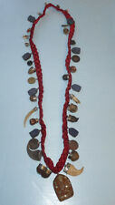 LARGE UNUSUAL VINTAGE CHARIVARI HUNTING CHARMS CLAWS COINS STONES NECKLACE