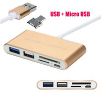 Multifunction 5 In1 SD TF Card Reader USB 3.0 Hubs With Micro USB Power Port